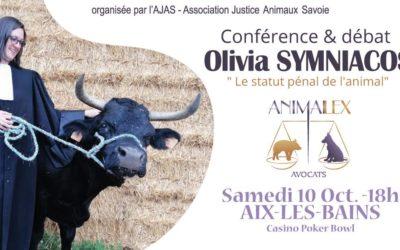 Conférence débat «Le statut pénal de l'animal» avec Olivia Symniacos, avocate en droit animalier